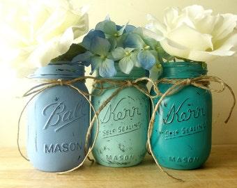 Painted Mason Jars, Blue Mason Jars, Rustic Chic Decor, Home Decorating, Mason Jar Decor, Distressed Decor, Rustic Home Decor