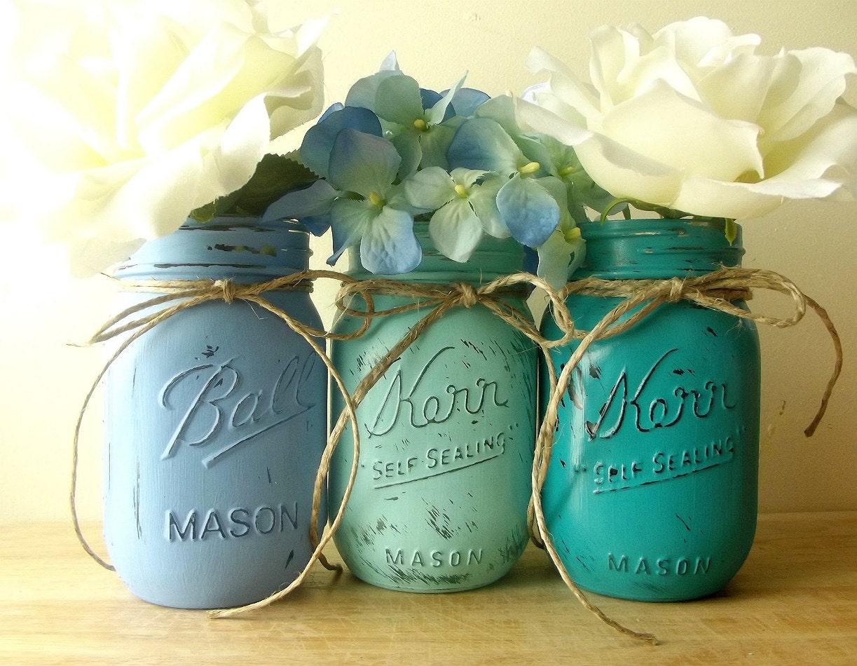 painted mason jars blue mason jars rustic chic decor home. Black Bedroom Furniture Sets. Home Design Ideas