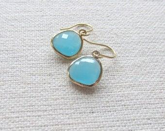 Ocean Blue Glass Earrings, Modern Gold Dainty Earrings