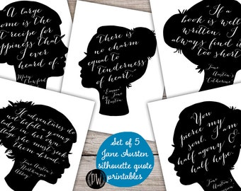 Jane Austen Quote Set of 5 printable wall art wall decor print poster inspirational quote Jane Austen Silhouette Collection Printable Wisdom