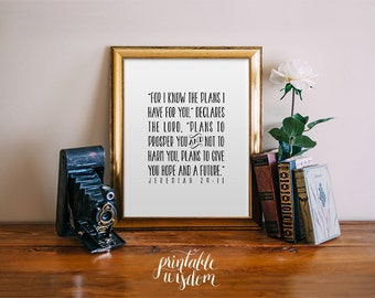 Nursery Bible Verse art print, Printable scripture, Christian wall art decor poster Jeremiah 29:11, digital typography, for I know the plans