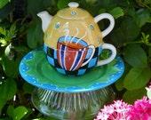 Jazz Cafe Teapot Garden Totem Stake, Garden Decor, Bird Feeder, Garden Art, Garden Sculpture