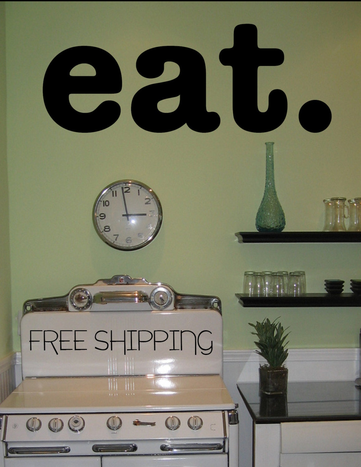 Cute Wall Decor For Kitchen : Eat wall vinyl decal sticker cute kitchen home decor