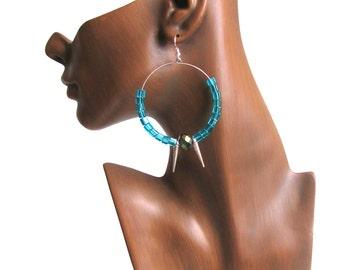 Large Hoop Earrings - Beaded Hoops - Spike Earrings - Punk Earrings - Basketball Wife Spikes - Statement Piece - Gifts For Her