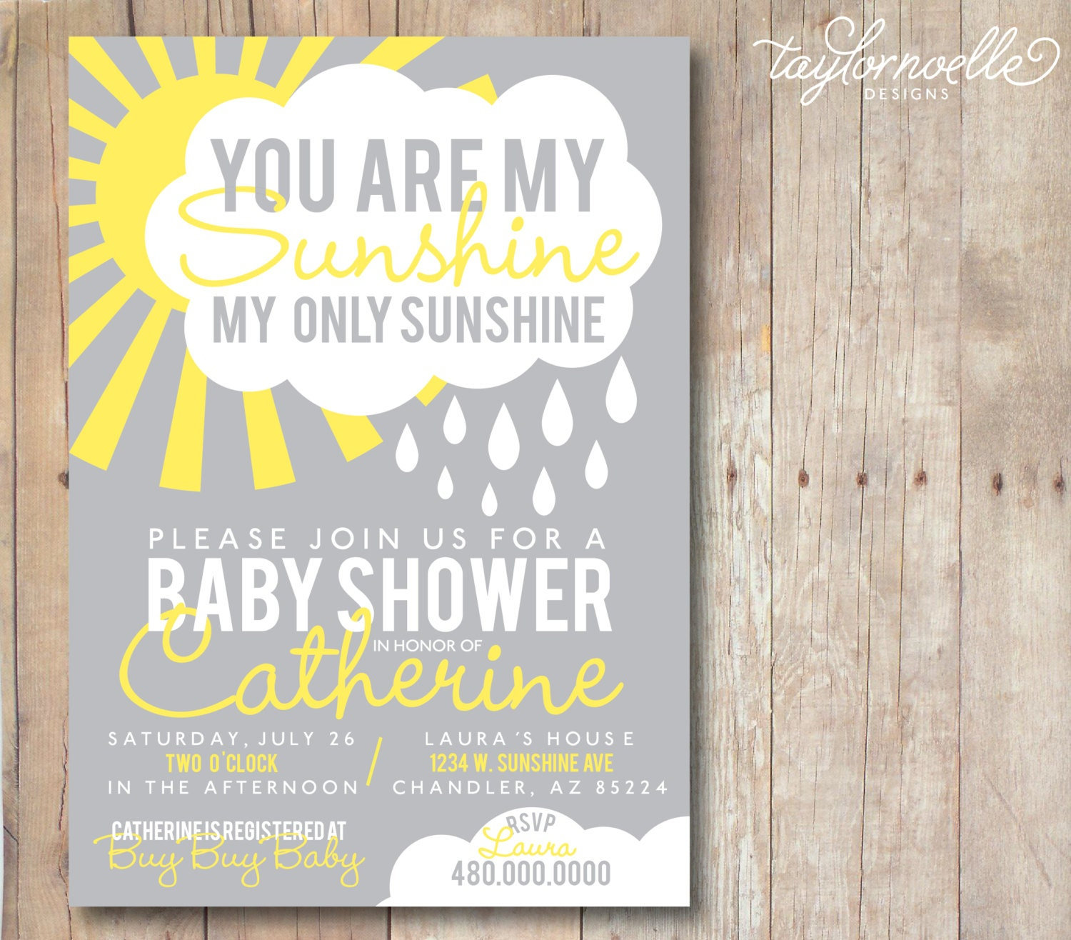 printable 5x7 you are my sunshine baby shower invitation