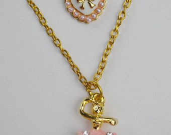 Silver Sparkly Rhinestone Ballet Dancer & Heart Charm Gold Tone Double Necklace Beau Flutterby