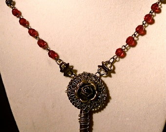 Goth Vintage repurposed key (from Paris) and vintage filagree silver rose button glass beads necklace