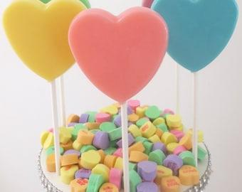 Pastel Hearts Gourmet Lollipops - Set of 8 - Pastel Party Favors  - Spring Party Favors - Wedding Favors - Heart Favors