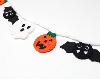 Halloween Garland, Crochet Bunting, Fall Party Decoration, Wall Hanging, Home Decor, Ghost, Pumpkin, Bat