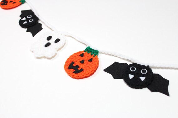 Halloween Bunting save Halloween Garland Crochet Bunting Fall Party Decoration Wall Hanging Home Decor