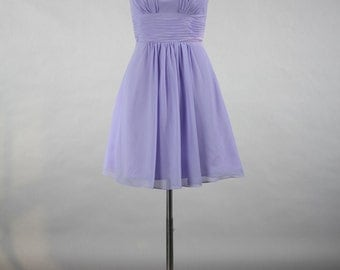 Lavender Straps Bridesmaid Dress, Custom Made Populay Chiffon Bridesmaid Dress