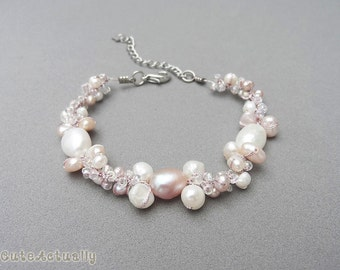 White pink freshwater pearl bracelet with glass beads on silk thread, bridesmaid bracelets, wedding jewelry