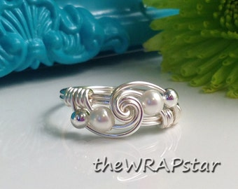 White Pearl Ring Wire Wrapped Jewelry Handmade Ring Wire Wrap Ring Wire Wrapped Ring Simple Ring June Birthstone Ring ITEM0311