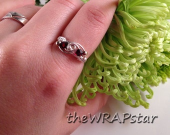 Double Birthstone Ring Personalized Jewelry Wire Ring Wire Wrapped Jewelry Handmade Wire Wrapped Ring Gifts for Girls ITEM0303