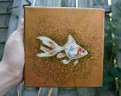 "Original acrylic 6"" x 6"" x 1.5"" goldfish painting w/ arabesque mandala design and rhinestones on canvas by Kali Wallace"