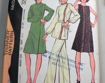 """1970s Boho A line Dress, Tunic Straight leg Pants sewing pattern. Cheongsam McCalls 3296 Size 18 Bust 40"""" Plus Size"""