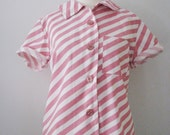 50s/60s Candy Striped Crop Blouse, S-M // Vintage Pin-up Top // Short Sleeve Straight Hem Shirt