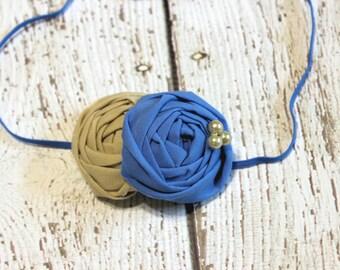 Blue and Tan Rosette Flower Headband, Baby Headband, Rosette Headband, Photography Prop