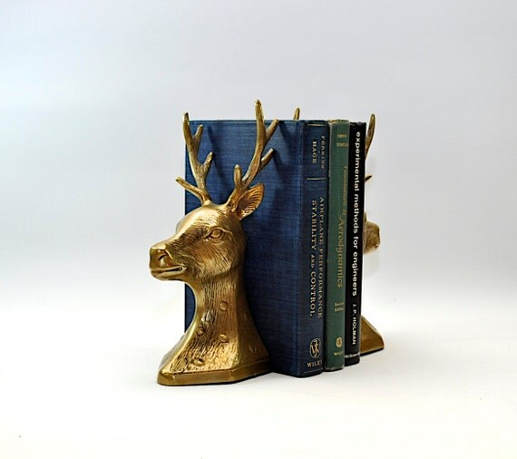 Fab vintage brass stag bookends deer head by dooleyfritzvintage - Stag book ends ...