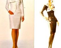 Vogue 2097 Sewing Pattern Oscar de la Renta Two Piece Suit Dress Jacket Pleated Collar Straight Slim Skirt Size 14 16 18 Uncut Factory Folds