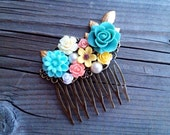 Floral and Gold Leaf Hair Comb - Antique Inspired