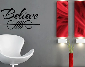 Believe Vinyl Wall Decal Modern Home Decor Sticker Believe Decal Sticker Wall Art (196)
