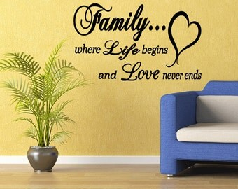 Family Where Life Begins and Love Never Ends Vinyl Decal Sticker Wall Sayings (M19)