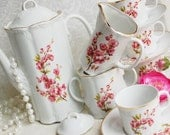 ARPO Romania Coffee/Tea Set/Tea Pot/Cup and Saucers/Cream and Sugar/White and Pink