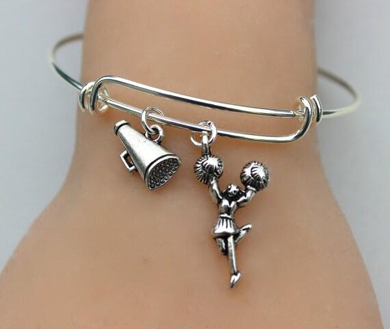 Cheer Charm Bracelets: Cheerleader Charm Bangle Charm Bracelet Pom Pom Girls