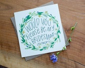 Color Wreath; Bridesmaid Card; Will You Be My; Maid of Honor; Flower Girl; Gift; Wedding; Card; Ask; Hand Lettered; Floral; Nature