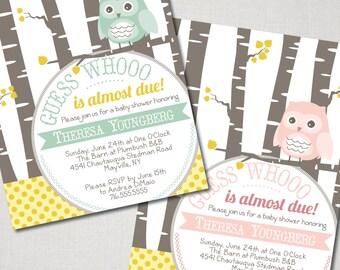 Owl & Birch Baby Shower Invitation - Digital File ( I design + YOU print)