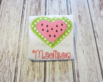 Girls Watermelon Heart Appliqued Shirt - Embroidered, Personalized, Monogram, Watermelon, Heart, Summer, Girls Watermelon Shirt
