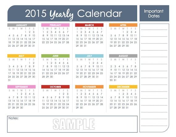 Year At Glance Calendar : Yearly calendar set printable editable instant