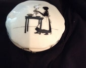 Vintage Porcelain Trinket Box - Lady Silhouette - Lady Cooking in the Kitchen - Ring Holder - Jewelry Box - Black Toile - Gift Under 20