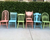 6 Dining Chairs, Shabby Chic Dining Chairs, Vintage, Custom Colors, Mix and Match, Spindle Chairs, Set of 6  Kitchen Chairs (Los Angeles)