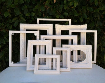 Wedding Frames, Set of 10, Custom set, Ornate Vintage Picture Frames,  Baroque, White Frames, Wall Gallery  #no114 (Los Angeles)
