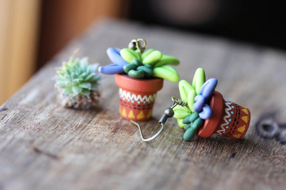 Tiny potted succulents earrings miniature polymer clay for Gemsprouts tiny plant jewelry