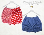Girls sewing pattern pdf, bloomer pattern, shorts pattern, childrens sewing pattern pdf, girls shorts pants pattern pdf, GIRLS BLOOMERS