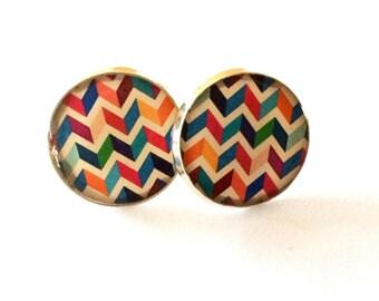Geometric Chevron  Resin Post Silver Earrings