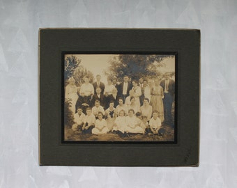 on SALE: Large family vintage matted photo photograph antique picture black and white sepia 1910's 1920's