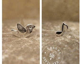 french bird & music note CARTILAGE or TRAGUS SET sterling silver, cartilage earring, tragus earrings, lobe, cartilage, tragus piercing