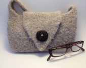 Neutral Beige Knitted and Felted Purse