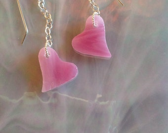 Pink Wispy Glass Heart Earrings