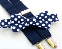 Ring bearer outfit, toddler wedding clothes, boys wedding attire, boys bow tie and suspenders, navy bow tie, navy suspenders