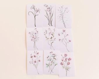 Beautiful Botanical Print Set, Set of 9 Floral Prints