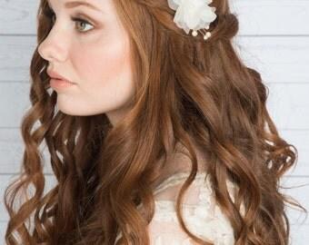 Ivory Flower Hair Clip, Flower Barrette, Ivory Flower Barrette, Ivory Hair Clip flower headpiece, flower hair pin, ivory flower, CLARA