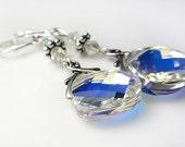 Swarovski Earrings Clear Aurora Borealis Crystal Earrings Clear AB Swarovski Crystal Drop Dangle Earrings Silver Blend Of Rainbow Colors