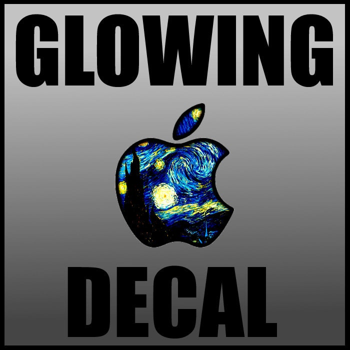 GLOWING Starry Night Apple LED Logo Overlay MacBook MacBook - Custom vinyl decals macbook