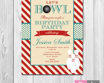 Bowling Party Invitation - Stripes - Red Cream and Blue - DIY - Printable