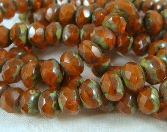 6x8mm Rondelle, Czech Glass Beads - Rustic Burnt Orange Glass Beads (0173) - Qty 12